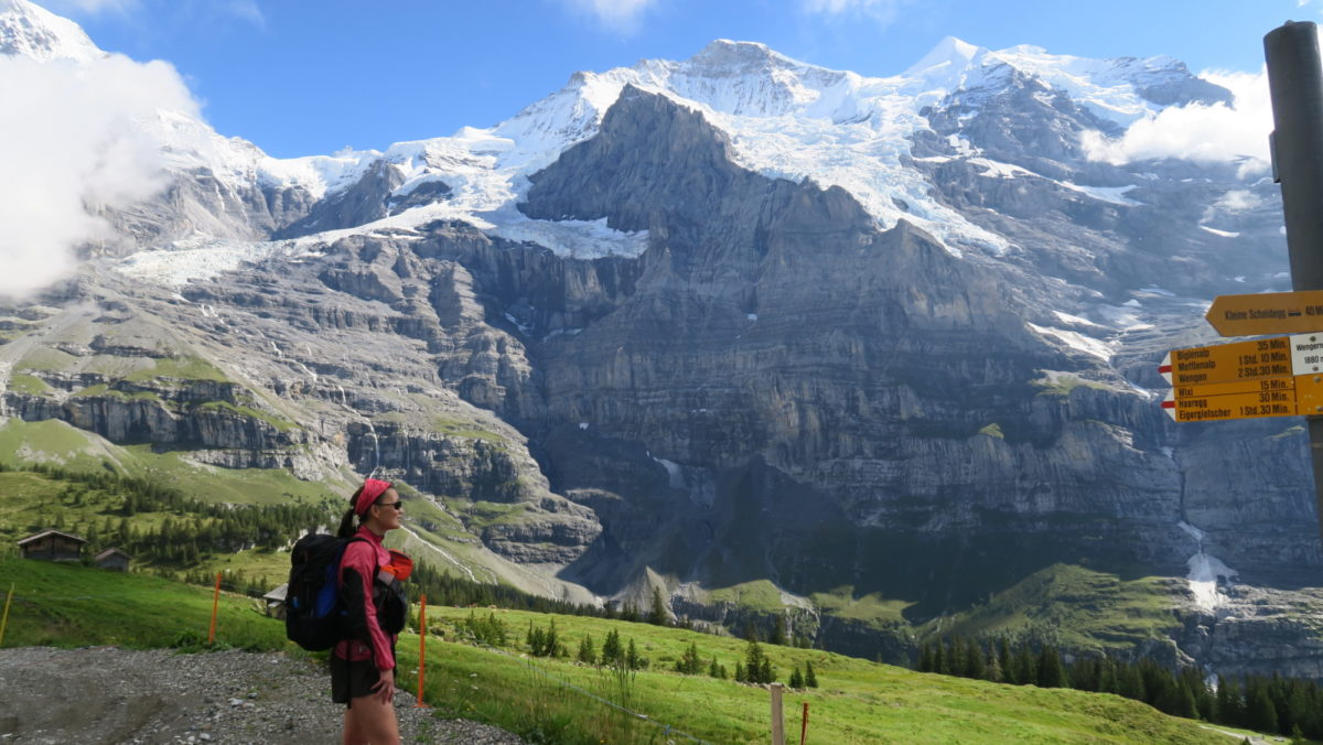 Lily fastpacking on the Alpine Pass Route, Switzerland.