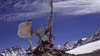 Prayer Flags Thrashed By The Wind On The Baga La In Dolpo
