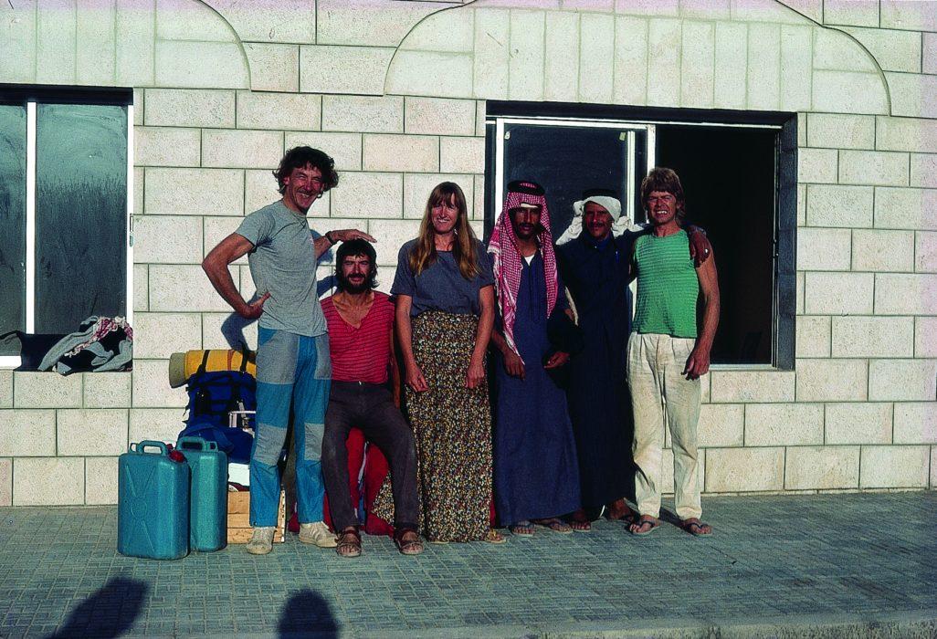 Discovering Wadi Rum, 1984. Alan Baker, Tony Howard, Di Taylor, Defallah and Sabbah Atieq and Mick Shaw.