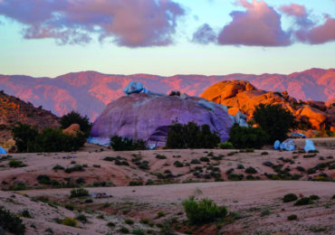 Looking past the 'painted rocks' south of Toubkal in the early evening