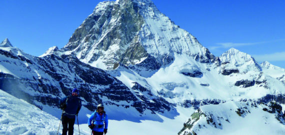 Ben Holt and Sallie O'Connor descend the Unterer Theodulgletscher below the Matterhorn
