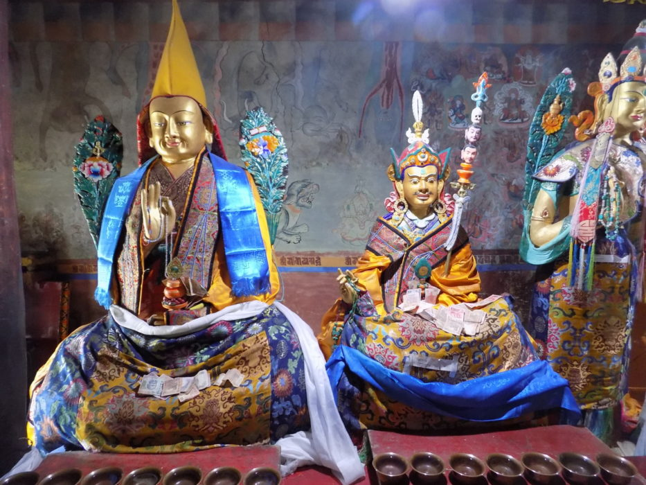 Thikse icons; Tsong Khapa (left), who founded the Buddhist Gelugpa sect associated with the Dalai Lama, and Guru Rinpoche (centre), the founder of the earliest school of Buddhism, the Nyingmapa sect