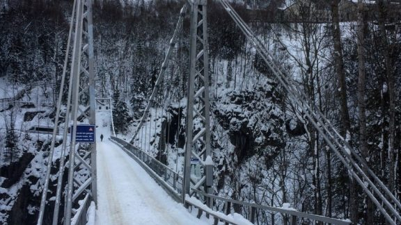 The entrance bridge to the Vemork hydroelectric power plant, spanning 75m across the 200m deep ravine.