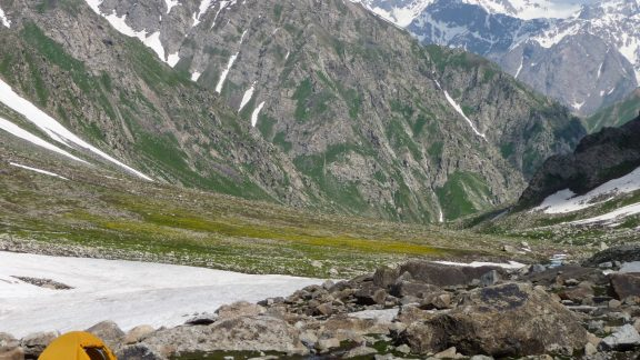 Camping on the foot of Mura Pass, close to the Uzbekistan border in the Hissar Range.