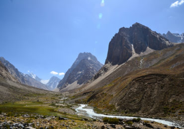 The Ravmeddara Valley is a true gem. This wide valley in the western Pamirs is fringed by towering mountains, with the 6083m high Patkhor Peak marking the highest point in the Rushan Range.  Photo: Christine Oriol