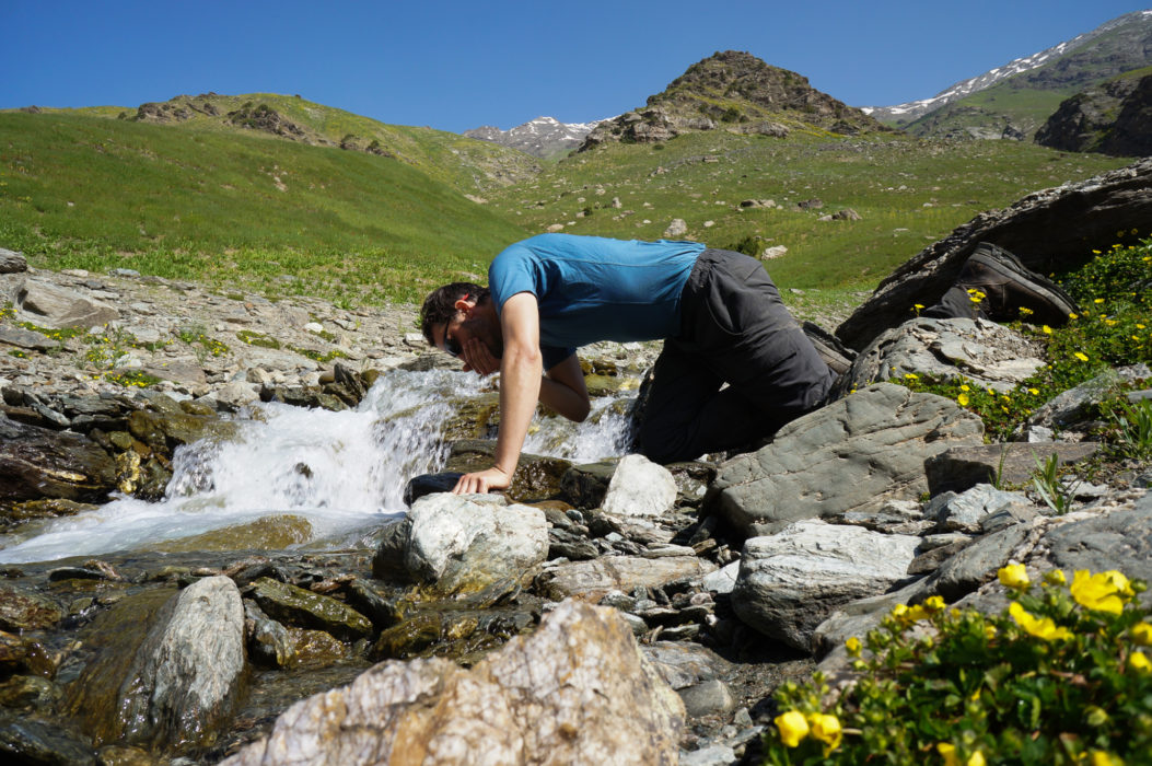In some places you can drink straight from the streams, but choose your water source well! Livestock roam at higher elevations, potentially contaminating the water source.