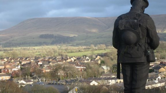 View of Pendle from Clitheroe Castle and War Memorial