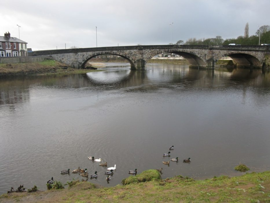 London Road Bridge carrying the A6 over the River Ribble. The Battle of Preston August 1648 took place on the old bridge here