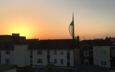 The Spinnaker Building, Portsmouth, from my hotel room. Next stop Bilbao.