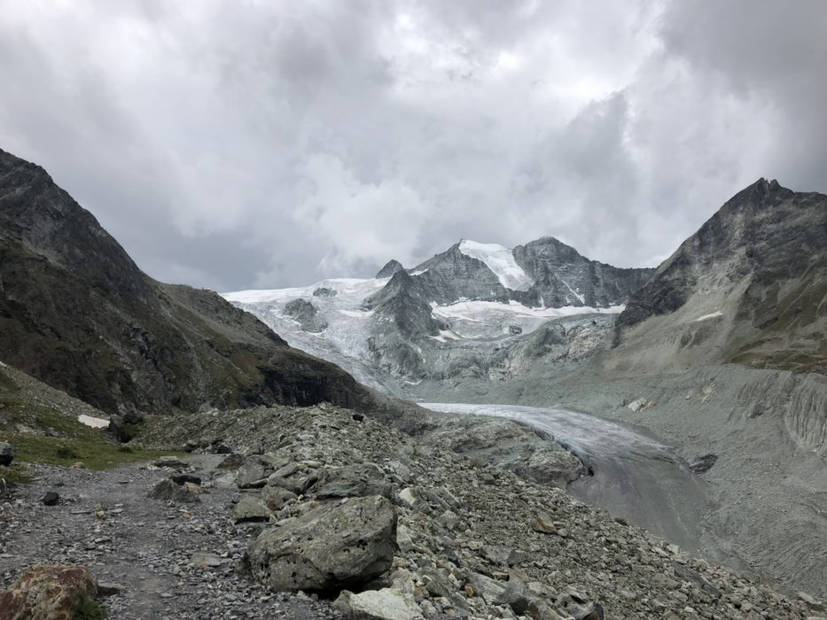 The Moiry icefall, with the hut just visible on the left skyline. Ten minutes later a violent electrical storm broke.