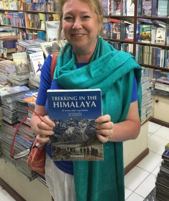 Clare with one of our books in Kathmandu