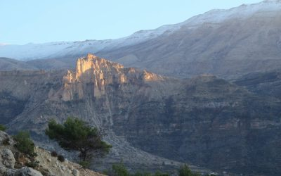 Limestone cliffs at sunset