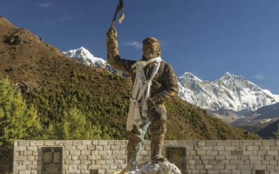 Statue Of Tenzing Norgay With Everest And Then Lhotse To The Right