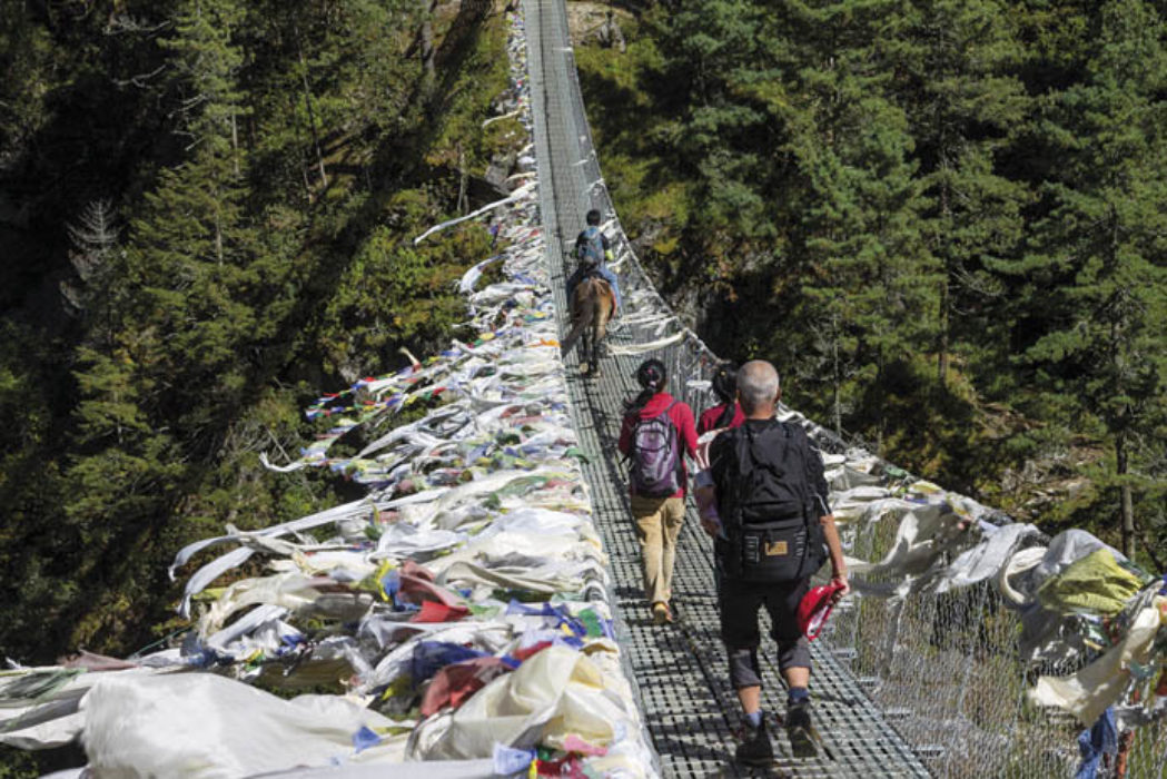 Suspension bridge high above the Dudh Koshi