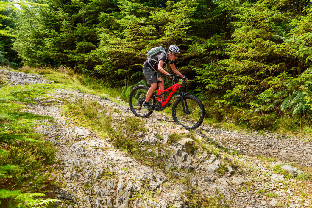 Bernie Carter on steep rocky terrain on the middle pitch of the Seven Wells bridleway descent, Grizedale Forest. No problem at all for Specialized (or the Cube).