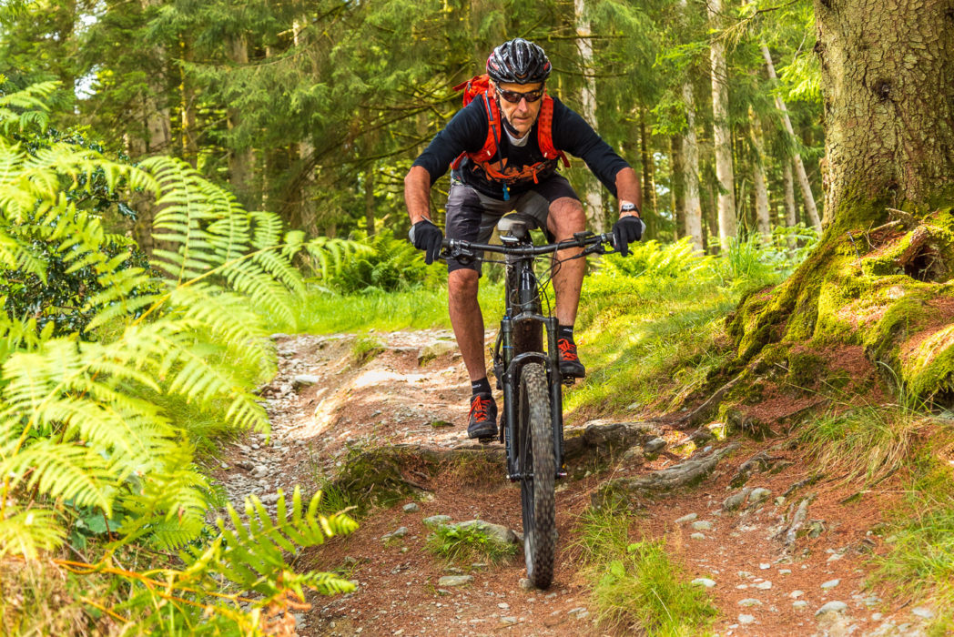 Jon Sparks at the bottom of the middle pitch of the Seven Wells bridleway descent, Grizedale Forest.