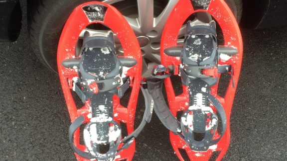 Snowshoes are simple to fit and easy to use, ranging in style and design. Be sure to replace your walking pole baskets with larger surface area winter ones