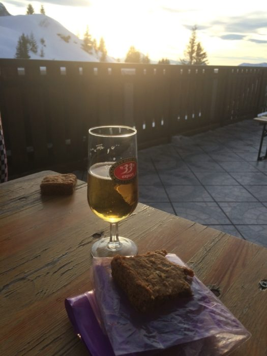 A well-deserved break on the terrace at the Refuge de Bostan with a cold beverage and homemade cake!