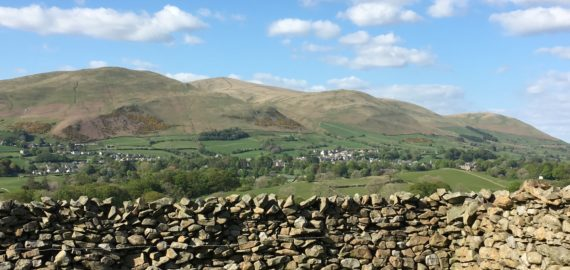 The Howgills, with sedbergh below