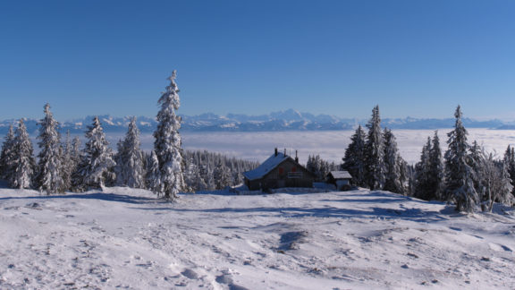 Mont Blanc and the Alpine chain behind the CAS Cabane de Cunay, Swiss Jura