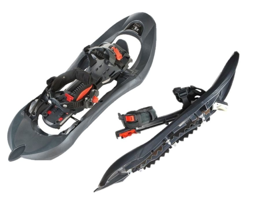 My TSL 438 Access snowshoes: the eight crampon spikes, front teeth and the grips under each foot provide maximum traction