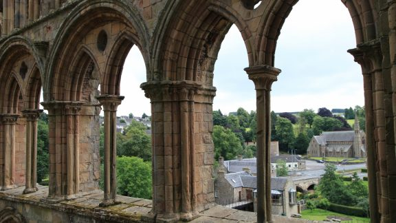 Looking out from Jedburgh Abbey