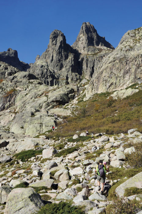 On a very rugged link route from Grotelle to the Breche de Capitellu on Corsica's GR20 photo Paddy Dillon