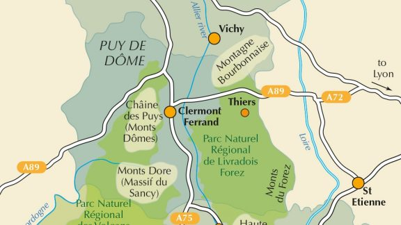 Overview map of the Auvergne