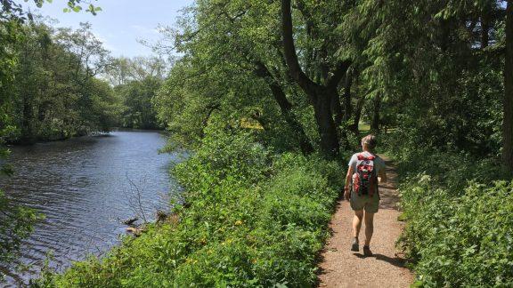 Walker on Derwent Valley Heritage Way in Derbyshire