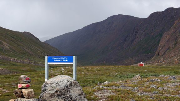 10 Signposts are few in number and this one is near a hut at Nerumaq