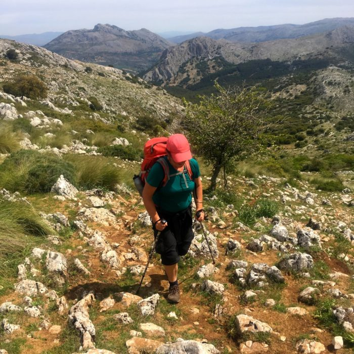 Climbing to the Gran Sendas highest point at 1,400m in the Sierra de San Jorge