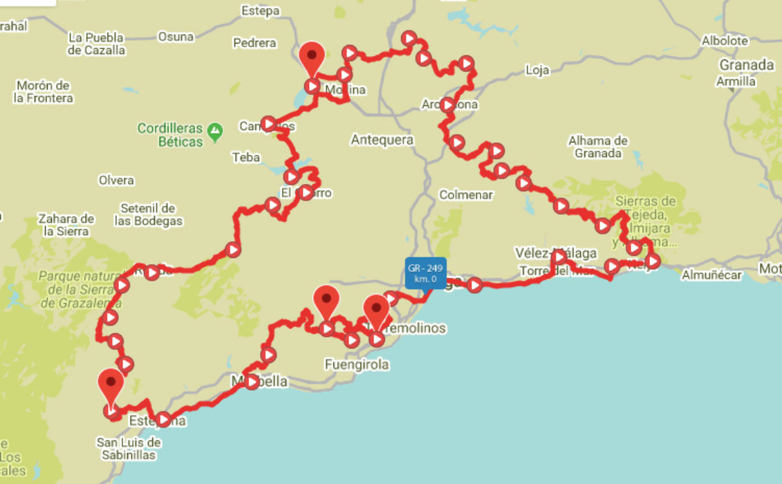 Map of the route of La Gran Senda de Malaga, Andalucia