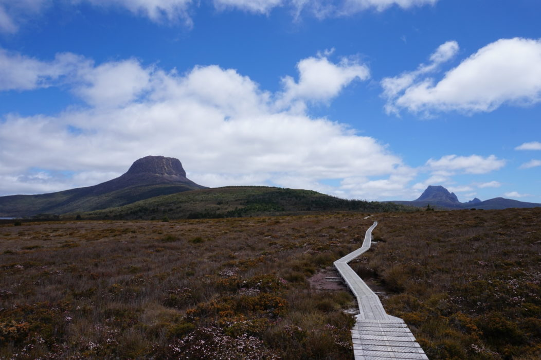 Big skies looking back along the track to Cradle Mountain  in the distance