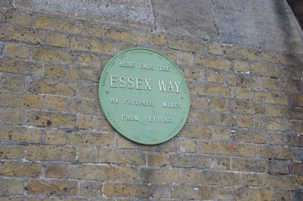The plaque on the High Lighthouse marking the end of the Essex Way