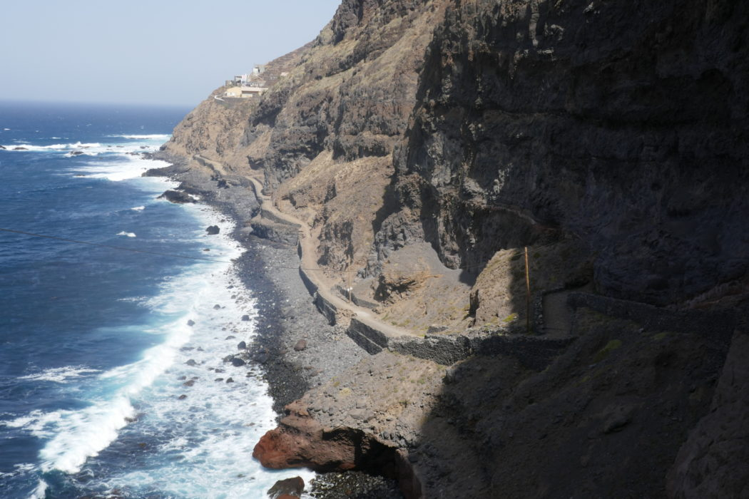 4-17 The coastal footpath between Porta do Sol and Cruzinha is cut into sea cliffs of volcanic rock