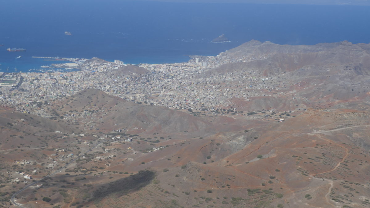 5-20 From the top of Monte Verde (750m) on Sao Vicente island there is a fine view over Mindelo