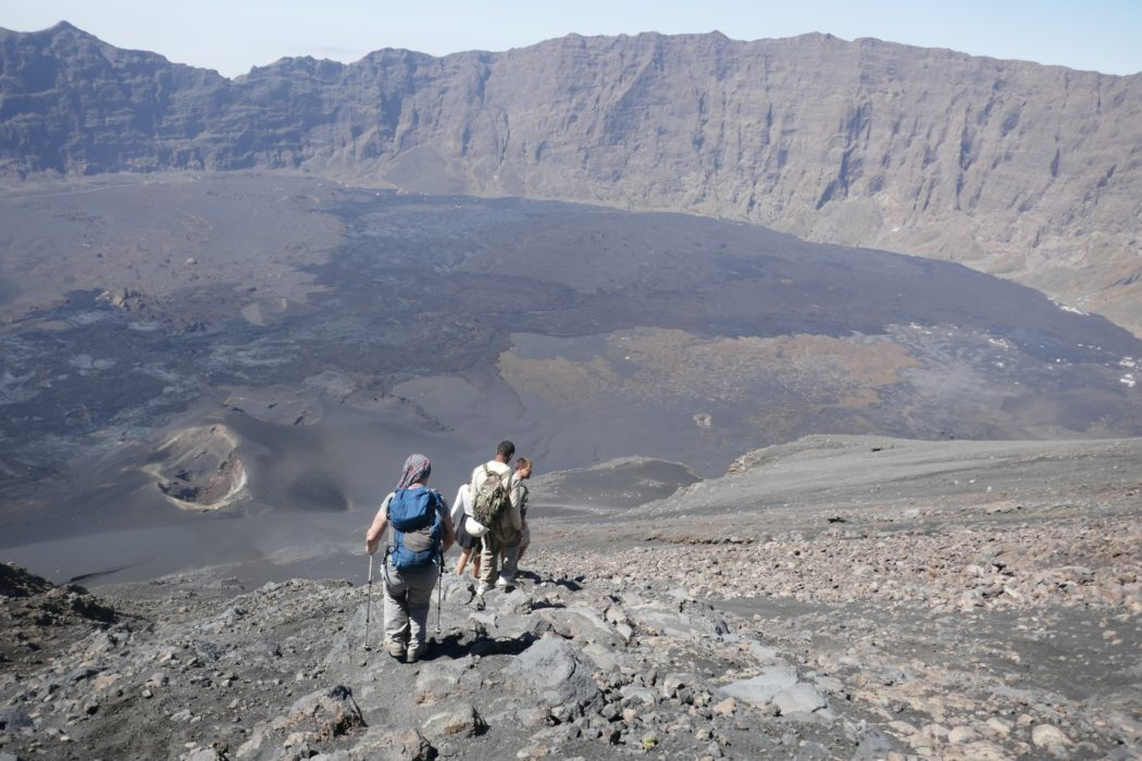 2-06 Descending Pico de Fogo with lava from the 2014 eruption spread across the old caldera