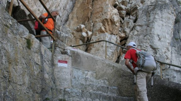 Steps up the chasm from Campione on the industrial archaeology trail