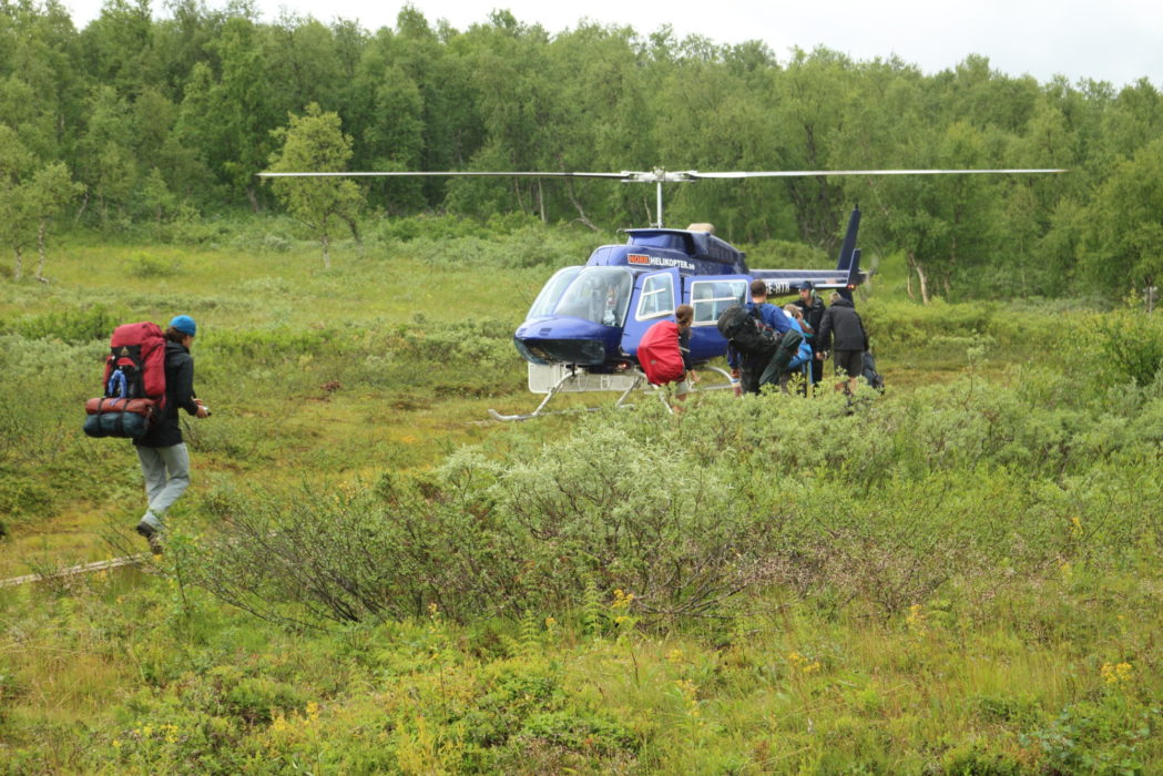 Some fjällstugor have scheduled helicopter services such as seen here at Tärnasjö
