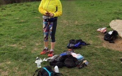 Val inspecting the contents of Lily's pack (photo credit: Lily Dyu)