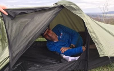 Peter trying the tent on for size (photo credit: Lily Dyu)