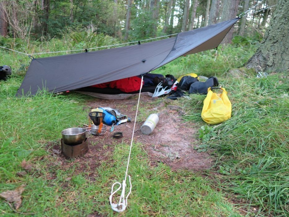 Choosing frame packs may mean using  tarps, bivvy bags  and ultra-lightweight  tents (Image by Cicerone author Jim Sutherland)