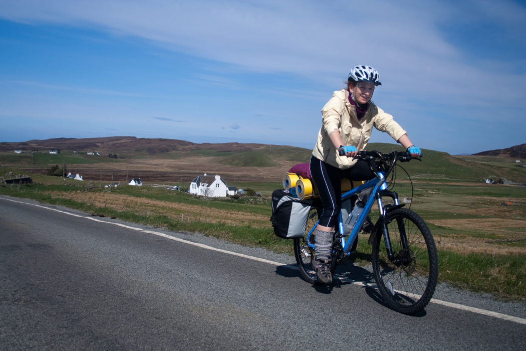 Road touring in the Hebrides with sleeping mats strapped to the rack (Image by Richard Barrett)