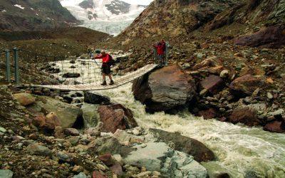 A Tibetan Style Bridge Over Meltwater From The Forni Glacier Ghiacciaio Dei Forni