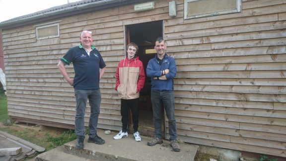 Teacher Ian and student William from Abroath Academy, with Ian Pert of the Hedzup charity
