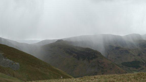 Snow shower battering the neighbouring ridge