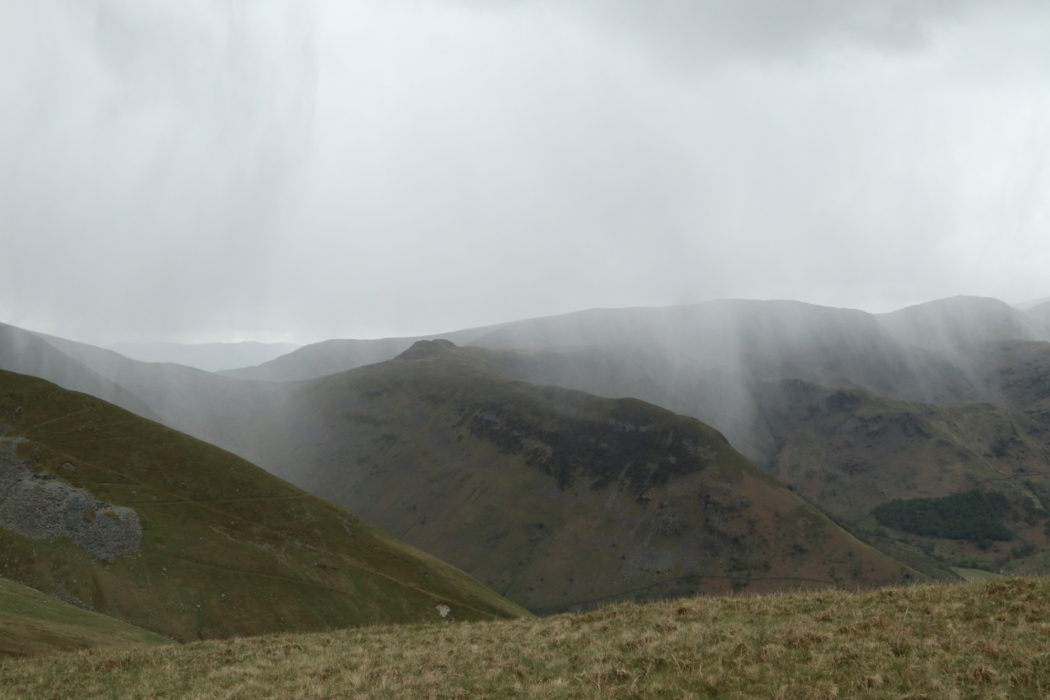 Snow shower battering the neighbouring ridge