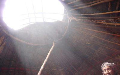 Inside a yurt: sun beams enter a Kyrgyz yurt, Little Pamir