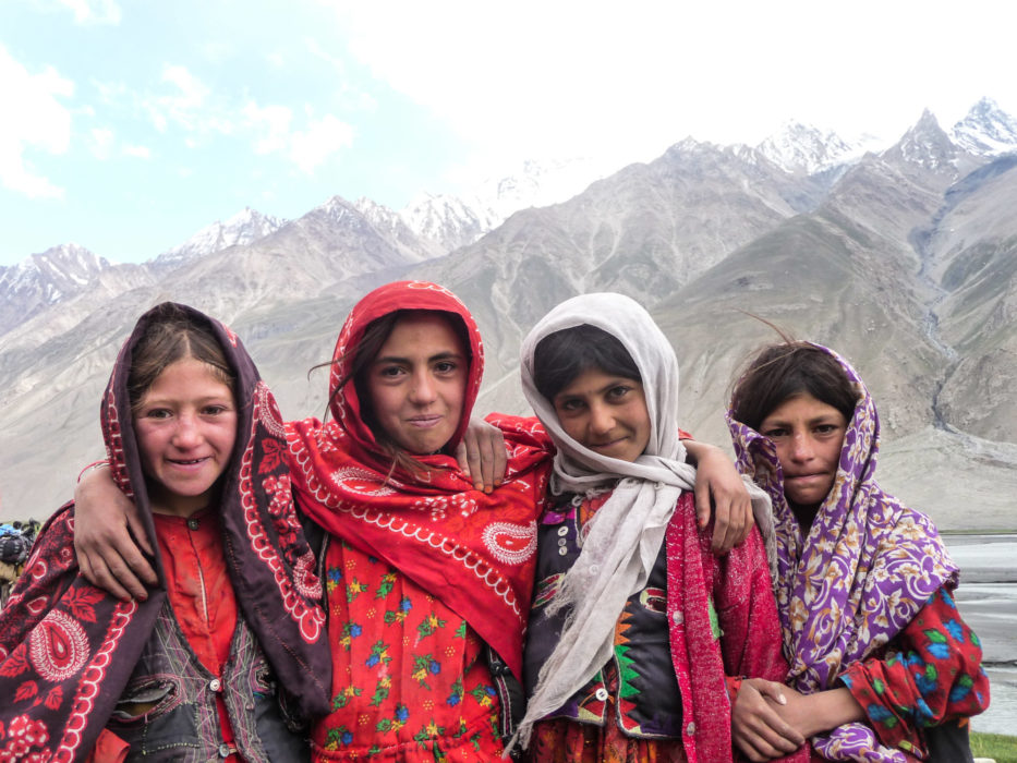 Wakhi school girls on their way to school, a 5km walk