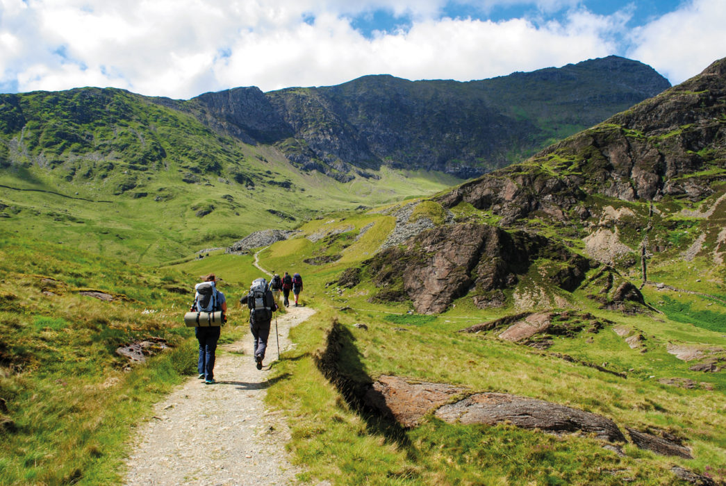 Heading Into Cwm Llan With The Quarry Workings And The Summit Of Snowdon Ahead